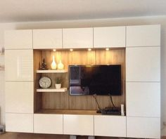 Album - 5 - Banc TV Besta Ikea, réalisations clients (série 2) Ikea Tv Wall Unit, Moderne Pools, Tv Wall Design, Living Room Tv, Family Room, Sweet Home, New Homes, Room Decor, House