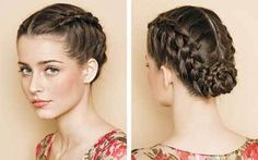 Lovely German Braid (Inside-Out Braid) twisted into a chingon.