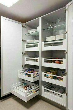 New kitchen organization diy cupboards drawers Ideas Kitchen Pantry Design, Kitchen Pantry Cabinets, Kitchen Interior, New Kitchen, Island Kitchen, Diy Cupboards, Kitchen Shelves, Storage Cabinets, Storage Shelves