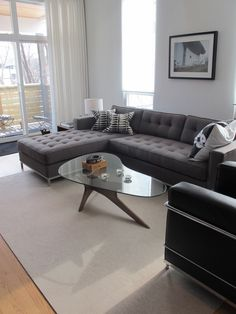 mid century sectional-gus modern couch and glass table My Living Room, Home And Living, Living Room Decor, Modern Living, Style At Home, Grey Sectional Sofa, Gray Sofa, Modern Sectional, Couches