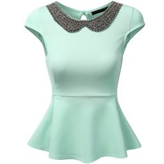 J.TOMSON Womens Sleeveless And Short Sleeve Fitted Peplum Top ($9.99) ❤ liked on Polyvore featuring tops, shirts, peplum tops, fitted shirt, green sleeveless top, green shirt and short sleeve tops