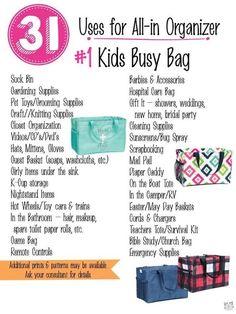 Trendy thirty one purse organization 31 bags ideas Thirty One Games, Thirty One Party, My Thirty One, Thirty One Organization, Purse Organization, Organizing Tips, 31 Bags, Busy Bags, Thirty One Business