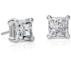 Blue Nile Essential Princess-Cut Diamond Earrings ($23,500) ❤ liked on Polyvore featuring jewelry, earrings, blue nile, stud earring set, 14k earrings, 14k white gold jewelry and blue nile earrings