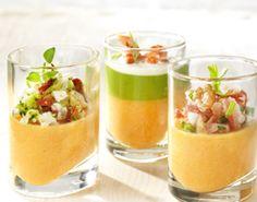 Trio van kleurige glaasjes (vleeshapje, vishapje, groentehapje) - Colruyt Culinair !