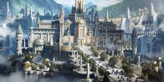 Royal Palace by Adam Isailovic : ImaginaryCastles Fantasy City, Fantasy Castle, Fantasy Places, Fantasy World, Medieval Fantasy, Dark Fantasy, Fantasy Art Landscapes, Fantasy Landscape, Landscape Art
