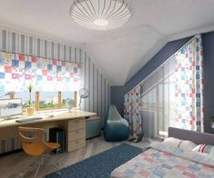 Photo 03 - Attic Bedroom For Kids Girl Equipped With Sloped Ceiling and Cheerful Theme Curtains