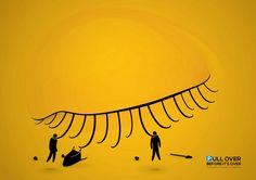 居眠り運転の危険性を啓発する目を惹くプリント広告 | AdGang
