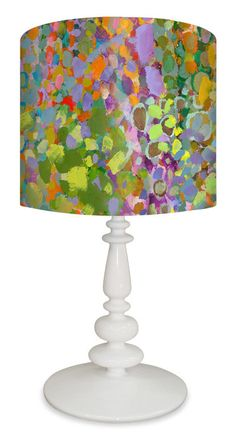 """Abstract Wilderness 26"""" H Table Lamp with Drum Shade"""