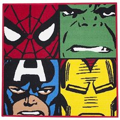 Marvel Comics Defenders Rug by Spider-Man * Learn more by visiting the image link.(It is Amazon affiliate link) #LoveForMarvel Carpet Tiles, Rugs On Carpet, Bedroom Flooring, Superhero Rug, Floor Mats, Hulk, Captain America, Iron Man, Spiderman