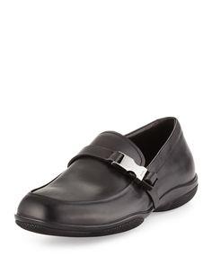 Buckled Leather Loafer, Black, Women's, Size: 7/8D - Prada
