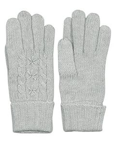 Dahlia Women's Star and Cable Wool Blend Knit Gloves - Light Gray >>> More info could be found at the image url.