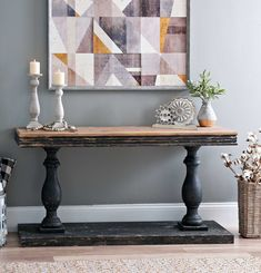 This Distressed Black Double Pedestal Console Table features strikingly bold design choices that will make a strong rustic statement in any space. Its distressed finishes and double pedestal silhouette exude modern farmhouse elegance. Vintage Farmhouse Decor, Vintage Industrial Decor, Farmhouse Table, Entrance Table, Entry Tables, Dining Room Console, Console Tables, Rustic Table, Wooden Tables