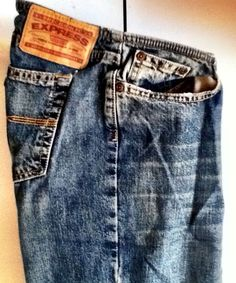 Express Jeans Denim Pants 100% Cotton Flare Sz 7/8 Low Distressed '70s Style #Express #Flare