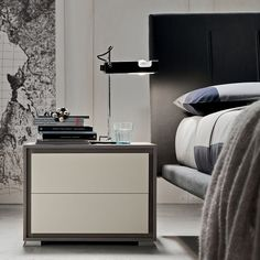 2 Drawers Wooden Nightstand Two Coloured Bedside Table By Eglooh