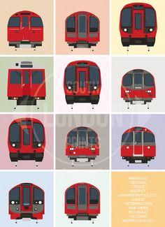 "London Underground Tube Trains Print, showing London's current, and future, ""Tube"" trains London Transport, Public Transport, Transport Posters, London Underground Tube Map, London Tube Map, Underground Lines, Train Posters, Map Posters, Railway Posters"