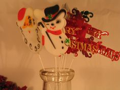 Vintage Christmas Picks Santa Snowmen Merry by Itzvintagedarling, $13.50