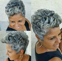Stylish Older Women with Short Haircuts - New Hair Styles 2018 Short Grey Hair, Short Hair Cuts, Curly Hair Styles, Natural Hair Styles, Pelo Natural, Blonde Pixie, Blonde Hair, Sassy Hair, Silver Hair