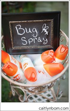 Necessity at any outdoor summer wedding! Make it cute! Cool Summer Wedding Ideas, Maybe do bug spray and sun screen: Be smitten not bitten! Beat the sun, have some fun!