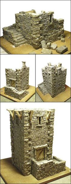 using real stone to make a guard tower model - original tiles are 1mm to 1 cm thick and hand cut- dioramas