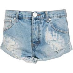 One Teaspoon Hustler Bandits Shorts (145 BRL) ❤ liked on Polyvore featuring shorts, bottoms, pants, short, blue, blue short shorts, blue shorts, short shorts and oneteaspoon