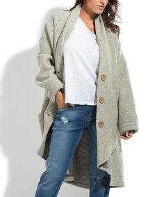 Beige Button-Up Wool-Blend Coat