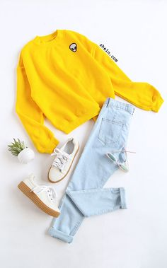 Yellow Drop Shoulder Embroidered Sweatshirt