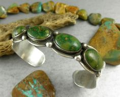 """Museum Quality Rare Green Turquoise Harvey Era  Navajo Early 30's Cuff Bracelet /  """"Complete with TWO wonderful stamped Thunderbirds!""""  /415"""