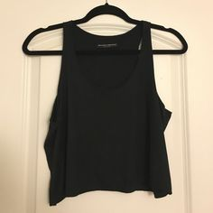 Black Suede Brandy Melville Cropped Tank Brandy Melville suede black cropped tank top. Only worn a couple times! Brandy Melville Tops Crop Tops