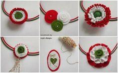 Apróságok: Kokárda ötletek Baba Marta, Textiles, Independence Day, Paper Flowers, Origami, Crochet Earrings, March, Paper Crafts, Christmas Ornaments