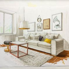 45 warm and minimal living room 25 Interior Architecture Drawing, Drawing Interior, Interior Sketch, Classical Architecture, Interior Design Trends, Interior Design Renderings, Interior Rendering, Deco Design, Living Room Interior
