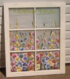 Hand painted vintage window with wildflowers