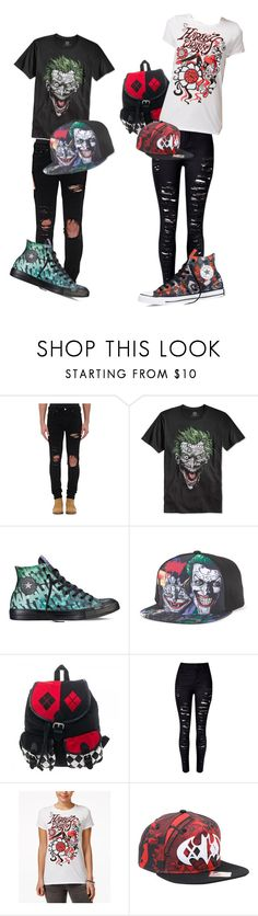 """Bf/GF Harley Quinn/Joker inspired outfits"" by srmagradutcher on Polyvore featuring AMIRI, Bioworld, Converse and WithChic"
