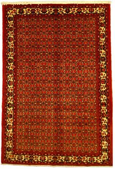 6' 4 x 9' 5 Red Hossainabad Persian Rugs