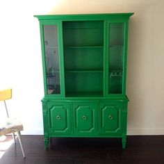 Kelly Green China Hutch with Gold Ring Pulls
