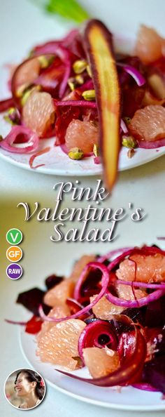 Pink Valentine's Salad made with rainbow carrots, pink grapefruit and pistachios (Vegan, Gluten Free) via Green Salad Recipes, Best Salad Recipes, Vegan Recipes Easy, Vegetarian Recipes, Keto Friendly Desserts, Low Carb Desserts, Dessert Recipes, Romantic Meals, Pink Foods