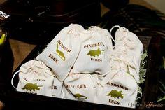 Cute muslin bags: printed dinosaur treat bags
