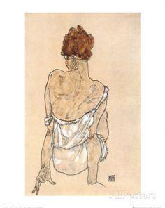 Zittende Vrouw met opgetrokken knie Affiches van Egon Schiele bij AllPosters.nl