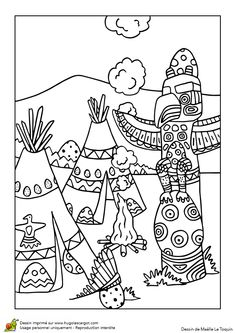 A colorier, une représentation de la fête de Pâques chez les indiens
