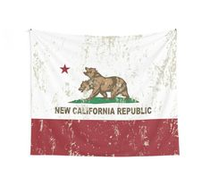 """New California Republic Flag Distressed"" Wall Tapestries by NorCal 