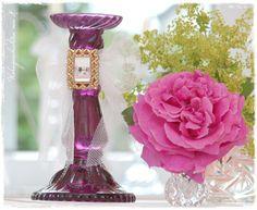 #Kerzenleuchter #Shabby-Chic http://de.dawanda.com/product/64631907-Leuchter-Violett-Glasleuchter-Vintage-Shabby-Chic