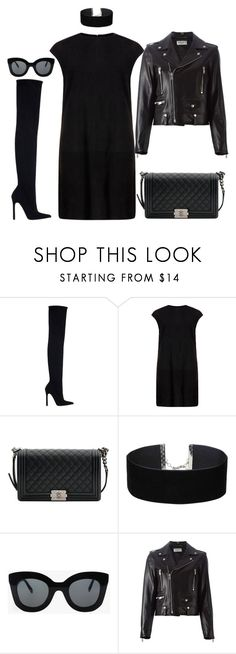 """MAXIMUM BLACK"" by kwasheretro on Polyvore featuring Zara, MuuBaa, Chanel, Miss Selfridge, CÉLINE and Yves Saint Laurent"