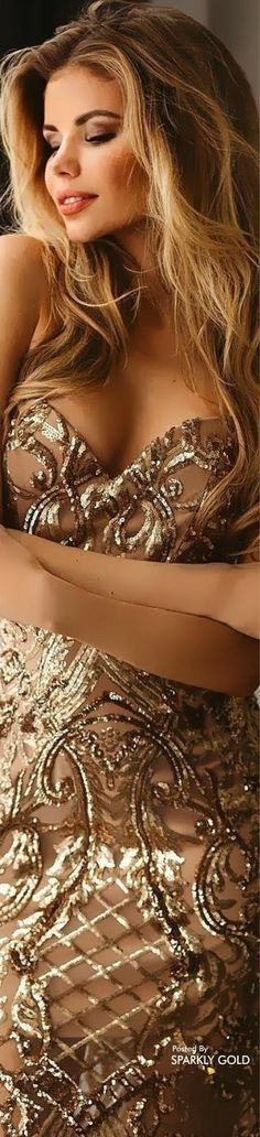 Sexy Outfits, Sexy Dresses, Fashion Dresses, Gold Fashion, Unique Fashion, Woman In Gold, Golden Goddess, Shades Of Gold, Color Shades