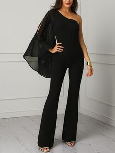 19f28dfb4a7d Shop One Shoulder Mesh Slit Sleeve Jumpsuits – Discover sexy women fashion  at Boutiquefeel