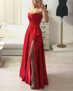 Sleeveless Red Prom Dress With Slit | RosyProm