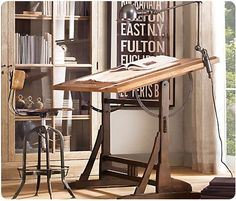 love the design of the drafting table, very vintage/arts and crafts/craftsman...however not inspired by the uncomfortable (albeit charming) task chair