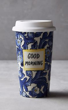 """Sweet Salutation Travel Mug (love """"Today will be great"""", """"Every day is an adventure"""" and """"good morning"""")"""