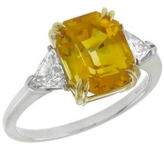 GIA Certfied 5.53ct Yellow Sapphire 0.30ct Diamond Gold Platinum Engagement Ring