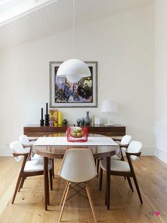 A retro modern dining room that belongs to Chelsea Cefai.