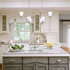 Beautiful combination of white cabinets and grey. Detail by sink, arch in window same as arch in gray cabinet, brackets, Lots of simple, pretty details in this kitchen Painting Kitchen Cabinets White, Kitchen Cabinets In Bathroom, Grey Cabinets, Kitchen Paint, Kitchen Dining, Kitchen Decor, Distressed Cabinets, Colored Cabinets, Upper Cabinets