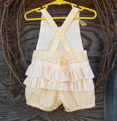 Butter yellow Baby Romper with ruffles!!